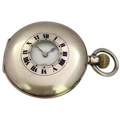 Antique Silver Half Hunter Stem, Winding Pocket Watch