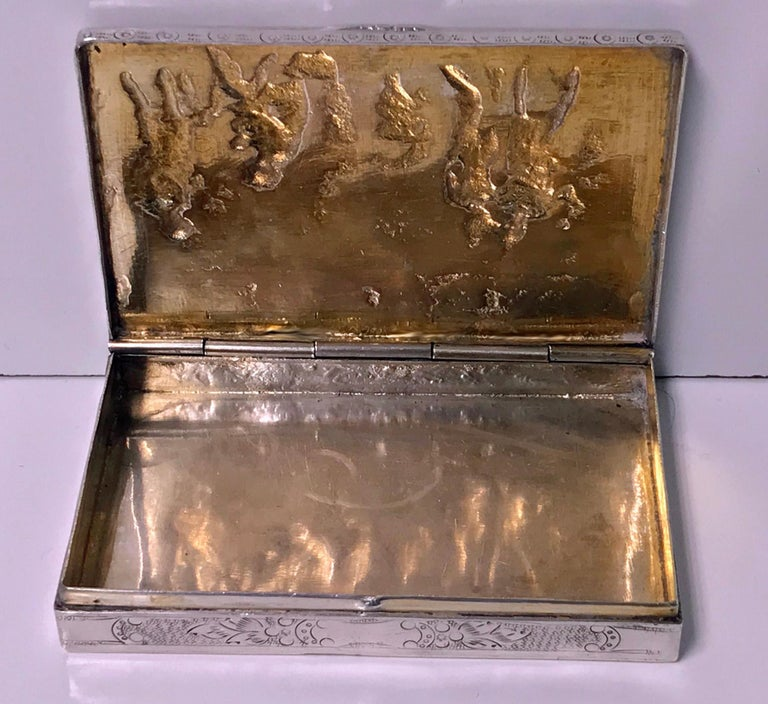 19th Century Antique Silver Hand Chased Box, Continental, circa 1900 For Sale