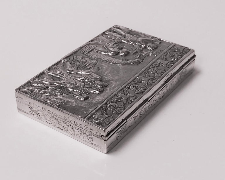 Antique Silver Hand Chased Box, Continental, circa 1900 For Sale 1