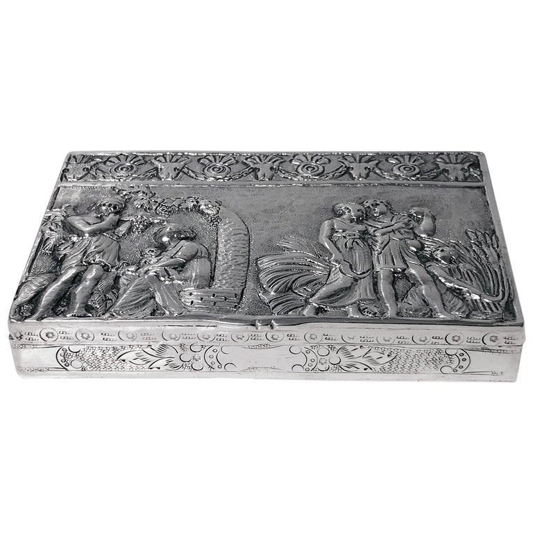 Antique Silver Hand Chased Box, Continental, circa 1900 For Sale