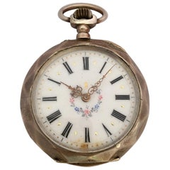 Antique Silver Hand Winding Pocket Watch