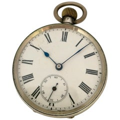 Antique Silver Hand-Winding Pocket Watch