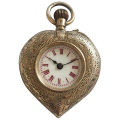 Antique Silver Heart Shaped Case Fob Watch