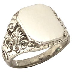 Antique Silver Heavy Chased Signet Ring