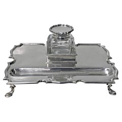 Antique Silver Inkstand Inkwell, London 1899 Goldsmiths and Silversmiths Co