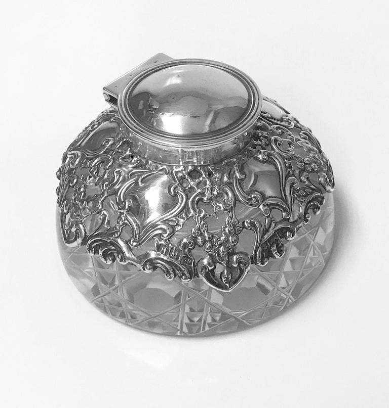 English Antique Silver Inkwell Paperweight, Birmingham, 1900 H. Matthews For Sale