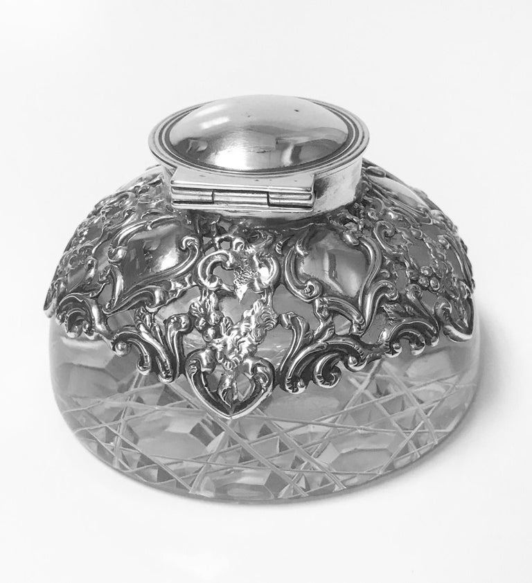 20th Century Antique Silver Inkwell Paperweight, Birmingham, 1900 H. Matthews For Sale
