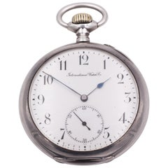 Antique Silver IWC International Watch Company Pocket Watch, Late 19th Century