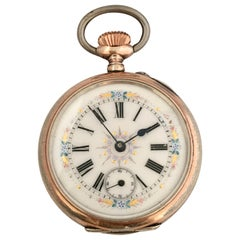 Antique Silver Key-Less Pocket Watch with Hand Painted Enamel Dial
