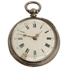 Antique Silver Key-Wind Pocket Watch