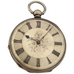 Antique Silver Key-Wind Pocket Watch with Silver Dial