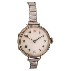 Antique Silver Ladies Mechanical Trench Watch