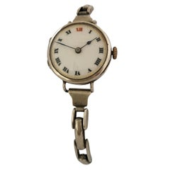 Antique Silver Ladies Trench Watch with Flexible Silver Band