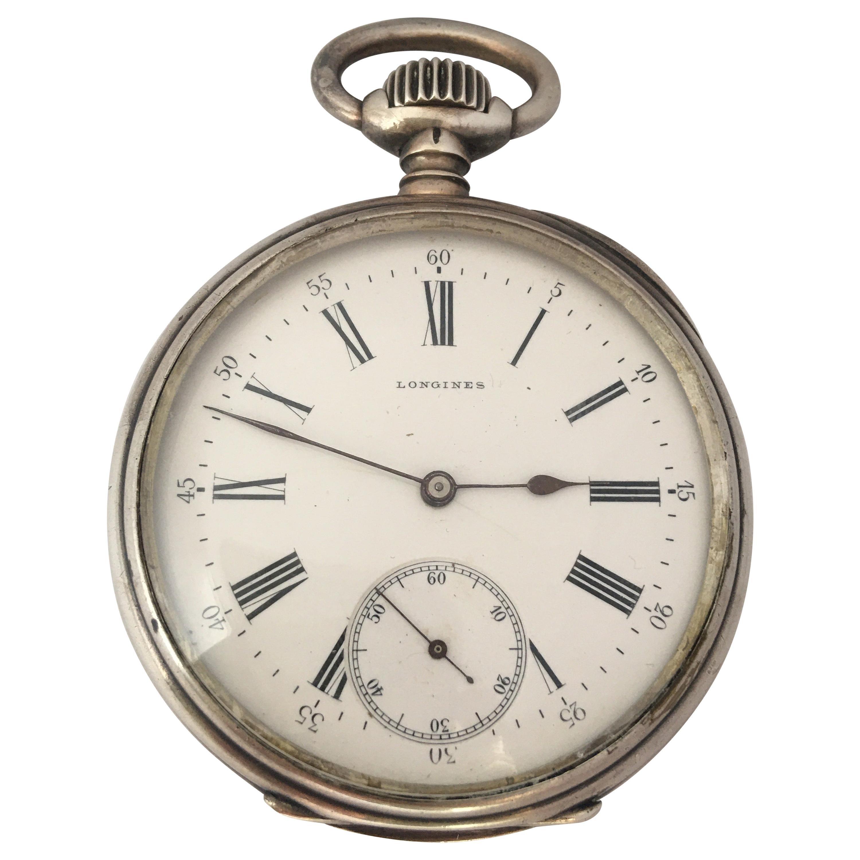 Antique Silver Longines Stem winding Pocket Watch