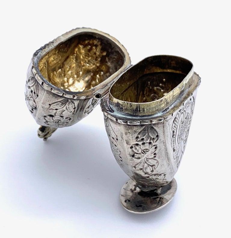 Women's or Men's Antique Silver Lovetoken Heart Crown Box For Sale