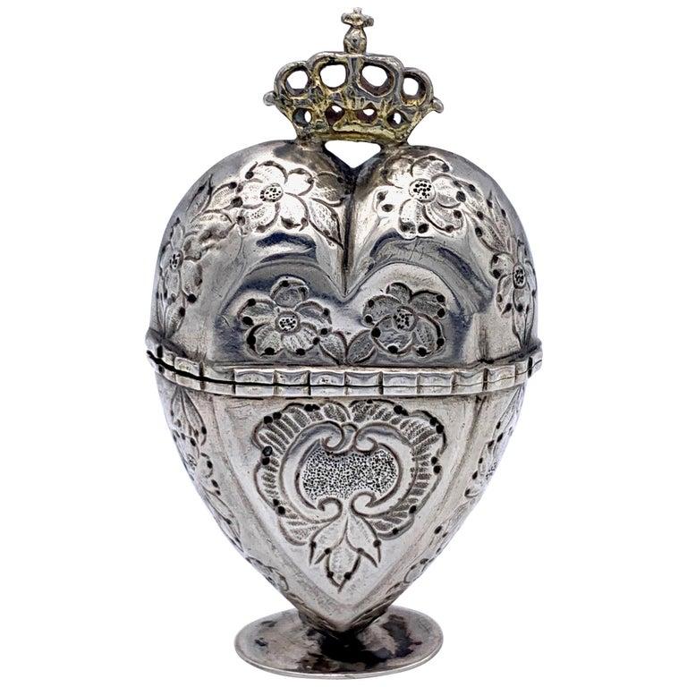 Antique Silver Lovetoken Heart Crown Box For Sale
