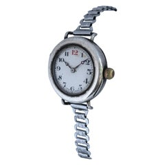 Antique Silver Manual Winding Zenith Trench Watch