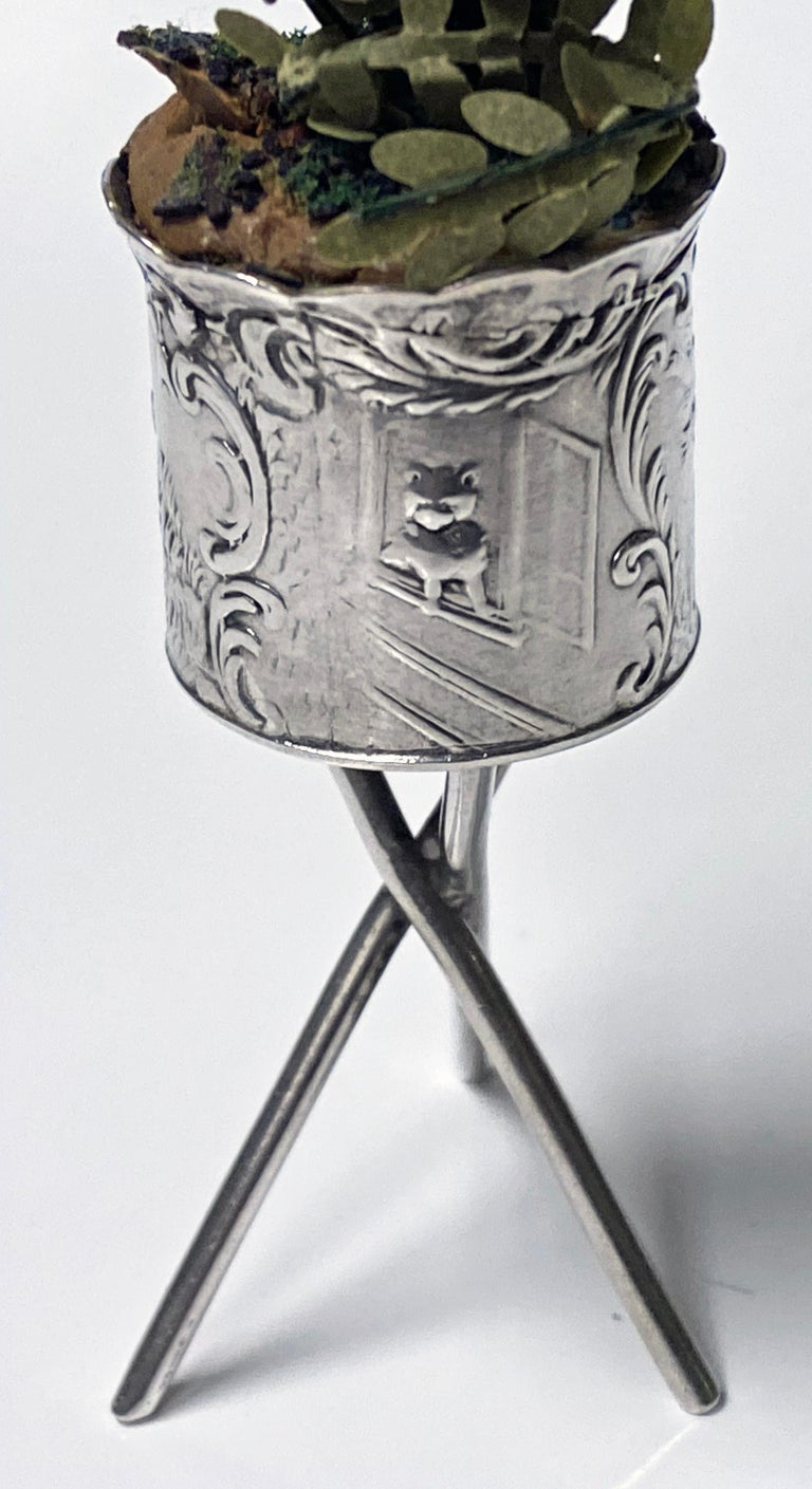 19th Century Antique Silver Miniature Planter and Stand, Germany, circa 1900 For Sale