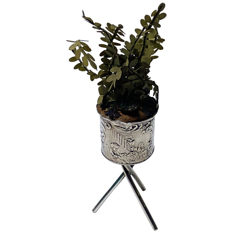 Antique Silver Miniature Planter and Stand, Germany, circa 1900 For Sale