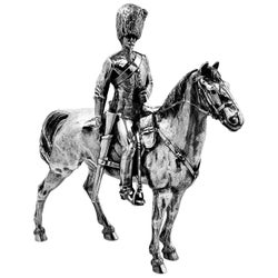 Antique Silver Mounted Military Cavalry Officer Horse Figure Model Statue, 1916