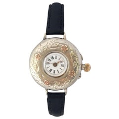 Antique Silver Nicely Engraved Case Ladies Trench Watch