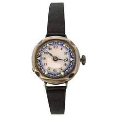 Antique Silver Nicely Inlaid Enamel Dial Ladies Trench Watch