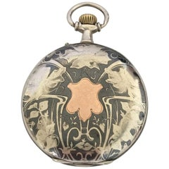 Antique Silver Niello Engraved Cased Pocket Watch for Restoration