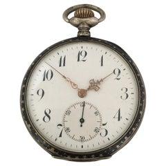 Antique Silver Niello Stem-Wind Pocket Watch