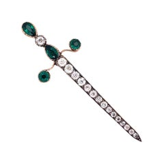 Antique Silver on Gold Paste Stones Sword Brooch Pin Estate Fine Jewelry
