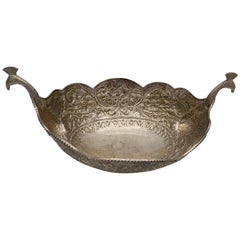 Antique Silver Oval Serving Bowl with Peacock Handles