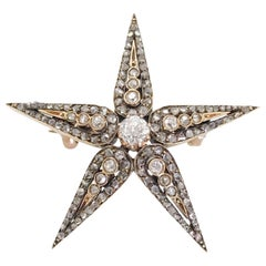 Antique Silver over Gold Five Point Star Diamond Brooch