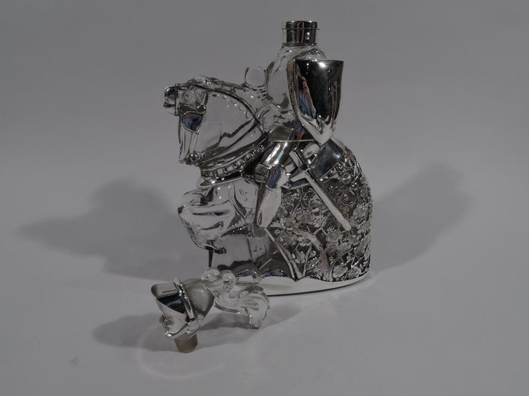 Art Deco Antique Silver Overlay Novelty Knight Errant Decanter For Sale