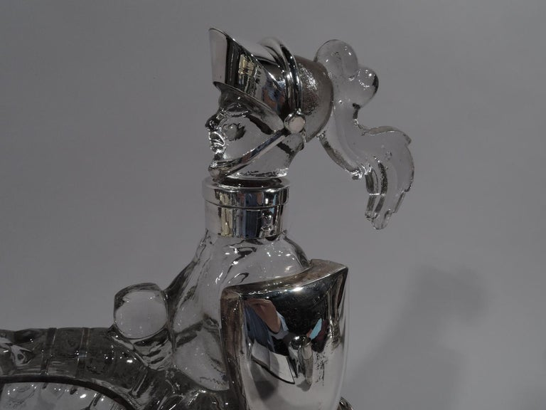 American Antique Silver Overlay Novelty Knight Errant Decanter For Sale