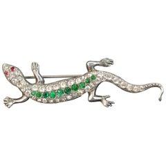 Antique Silver Paste Salamander Gecko Lizard Brooch