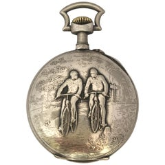 Antique Silver Plate Manual winding Cyclists Pocket Watch