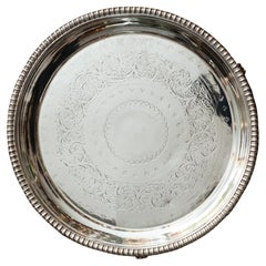 Antique Silver Plate Round Footed Serving Tray