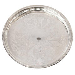 Antique Silver Plate Round Serving Tray with Gallery Rim