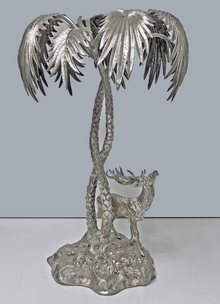 Other Antique Silver Plate Stag Centrepiece, circa 1870 For Sale