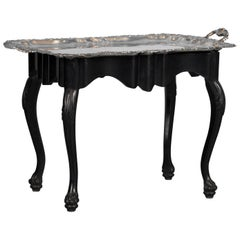 Antique Silver Plate Tray Table on an Ebonized Base