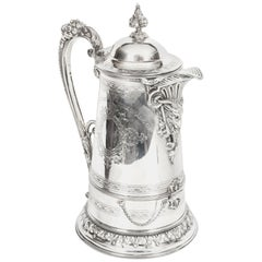 Antique Silver Plate Tudor Patent Wine Cooling Flagon, 19th Century