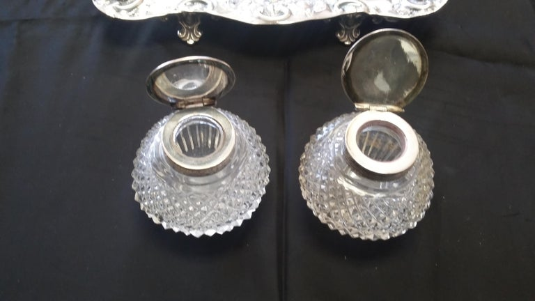 Antique Silver Plated 19th Century Inkwell For Sale 1