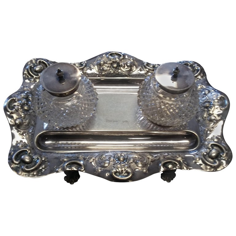 Antique Silver Plated 19th Century Inkwell For Sale