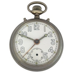 Antique Silver Plated Alarm Pocket Watch Signed Junghans