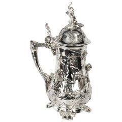 Antique Silver Plated Beer Stein Art Nouveau, 1920s