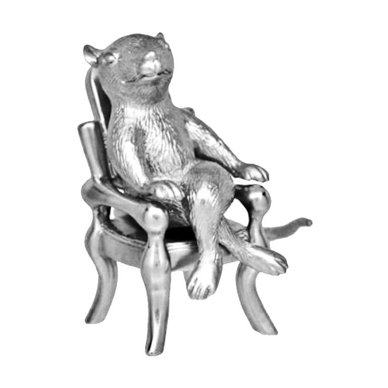"""Antique Silver Plated Bronze """"The Year Of The Rat"""" by John Landrum Bryant For Sale"""