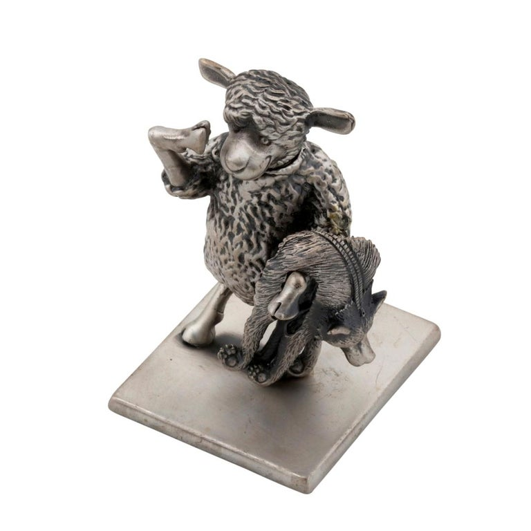 Antique Silver-Plated Bronze. This piece was made in Manhattan entirely by hand, and was cast, one at a time, using the lost wax process. Prince John Landrum Bryant Created and Designed this piece and Supervised its Fabrication. Dimensions: