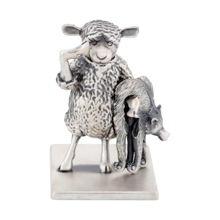 """Antique Silver Plated Bronze """"The Year Of The Sheep"""" by John Landrum Bryant For Sale"""