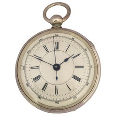 Antique Silver Plated Centre Seconds Chronograph Lever Pocket Watch