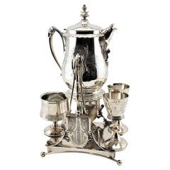 Antique Silver Plated & Engraved Tipping Ice Water Set or Lemonade Stand