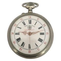 Antique Silver Plated F.Bachschmid Open Face Pocket Watch Swiss, 1900s